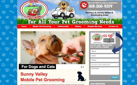 Website Design for Sunny Valley Mobile Pet Grooming